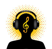 Human silhouette with headphones Royalty Free Stock Image