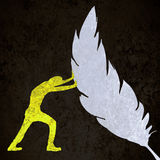 human silhouette pushing a feather Royalty Free Stock Images