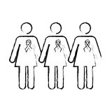 Human silhouette with ribbon pink breast cancer Royalty Free Stock Image