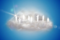 Human silhouettes on a floating cloud with app icons Royalty Free Stock Photos