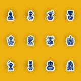 Human silhouettes icon set isolated on yellow Royalty Free Stock Photography