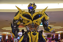 Human Size model of Bumblebee from Transformers Royalty Free Stock Photo
