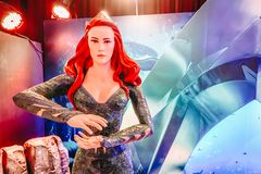 Human Size Statue of A DC Comic Character Mera Amber Heard at The Standee of Movie Aquaman stock photo
