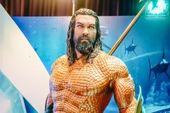 Human Size Statue of A DC Comic Superhero Arthur Curry or Aquaman at The Standee of Movie Aquaman royalty free stock image