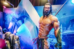 Human Size Statue of A DC Comic Superhero Arthur Curry or Aquaman at The Standee of Movie Aquaman royalty free stock photography