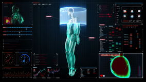 Human skeletal and blood vascular system inside scanning Human body in digital medical display. user interface panel.