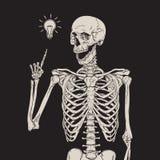 Human skeleton has an idea isolated over black background vector illustration stock illustration