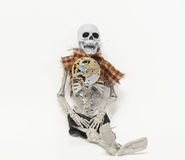 Human skeleton with mechanical old vintage technology gears and parts Royalty Free Stock Photos