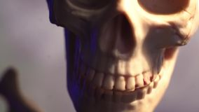 Human skeleton and skull close-up. By steadicam stock video