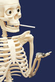 Human skeleton smoking and using drugs - death Royalty Free Stock Images