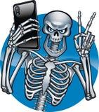 Human skeleton taking Selfie Photo on Smart Phone