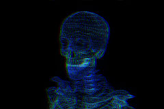 Human Skeleton Wireframe Hologram in Motion. Nice 3D Rendering Royalty Free Stock Photo