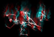 Human skeletons. Falling into hell Stock Photo