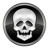 Human skul icon on the black circle. Illustration Stock Photography