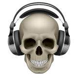 Human skull. With music headphones. Illustration on white Stock Image