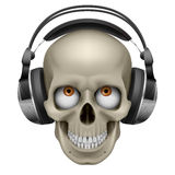 Human skull. With eye and music headphones. Illustration on white Royalty Free Stock Photography