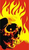 Human skull. In the red and yellow flames Royalty Free Stock Image