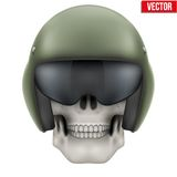 Human skull with Aircraft marshall helmet Stock Images