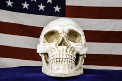 Human Skull and American Flag Stock Image