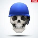 Human skull with baseball helmet Stock Photos