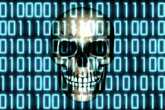 Human skull behind binary digital code software. Malware Virus Cyber threat concept. Human skull behind binary digital code software. Malware Virus Cyber threat royalty free illustration