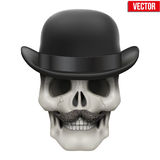 Human skull with black bowler hat. Vector Illustration on  white background Royalty Free Stock Photos