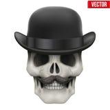 Human skull with black bowler hat Royalty Free Stock Photos