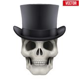 Human skull with black cylinder hat Royalty Free Stock Photos