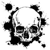 Human skull with black ink blots. Vector illustration Stock Photo