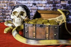 Pirate Chest and Gold Coins. Human skull with black skull cap next to wood chest full of gold coins and old paper money on red with large yellow snake royalty free stock images