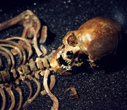 Human skull and bones. Human skull and bones on a black sand Royalty Free Stock Images