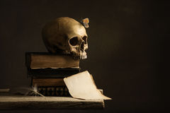 Human Skull with Butterfly and a empty Page with Feather Royalty Free Stock Photos