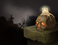 Human skull, candles and graveyard Stock Photo