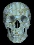 Human skull with circuit board pattern. Isolated on black background Stock Photos