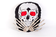 Human Skull with cross two hand Stock Photography