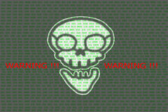 Human skull in digital background / Concept of network security, cyber attack, computer virus, ransomware stock images
