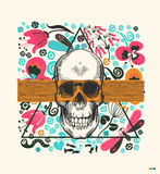 Human skull drawn in vintage engraving style, translucent orange band and triangle on background with flowers  insects Stock Photography