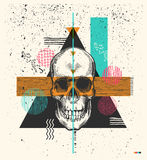 Human skull drawn in woodcut retro style and triangles, rectangles circles of different colors textures on background. Human skull drawn in woodcut retro style Royalty Free Illustration