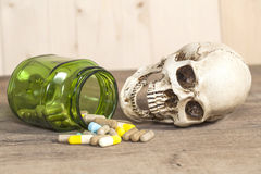 Human skull with drugs Stock Image