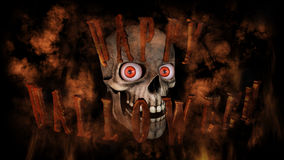 Human Skull With Eyes And Scary, Evil Look 3D Rendering Royalty Free Stock Photography