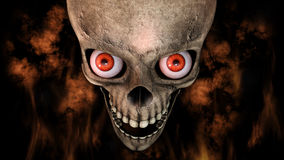 Human Skull With Eyes And Scary, Evil Look 3D Rendering Royalty Free Stock Images