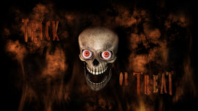 Human Skull With Eyes And Scary, Evil Look 3D Rendering. Human Skull With Eyes And Scary, Evil Look Halloween Concept With Text Spelling Trick Or Treat 3D Stock Image