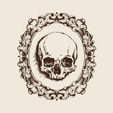 Human skull in filigree frame. Vector illustration Stock Photography