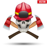 Human skull with firefighter helmet Royalty Free Stock Photo