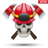 Human skull with firefighter helmet. Human skull with fireman helmet and axes. Firefighter in style of the Jolly Roger. The symbol of strength and power. Vector Royalty Free Stock Photography