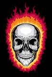 Human Skull with Flames Royalty Free Stock Photography