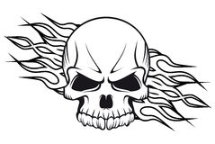 Human skull with flames. For tattoo or mascot design Stock Images