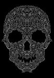 Human skull from Floral elements on a black background Stock Images