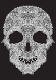 Human skull from Floral elements on a black background Stock Photo