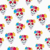 Human Skull and Flower Wreath Seamless Pattern. Royalty Free Stock Photos